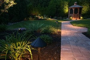 landscape lighting installation to illuminate walkways